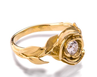Rose Engagement Ring No.1 - 18K Yellow Gold and Diamond engagement ring, unique engagement ring, leaf, flower ring, art nouveau,vintage