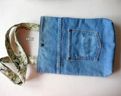 Medium tote from upcycled denim jeans - tablet tote, handmade tote, handmade pocketbook, recycled, purse, bag, denim tote, tablet pouch,