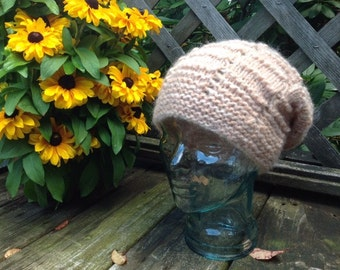 Knit Slouchy Hat - Pale Pink (Teen/Adult)
