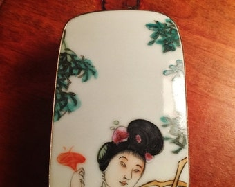 ON SALE - Vintage Japanese Ornately Decorated Trinket Treasure Box with Ceramic Handpainted Top