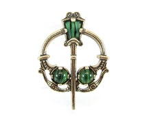 Vintage Penannular Brooch, Celtic, Sword and Shield, Green Art Glass, Gold Tone