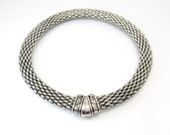 Vintage Byzantine Style Necklace, Silver Tone Chain, Magnetic Closure