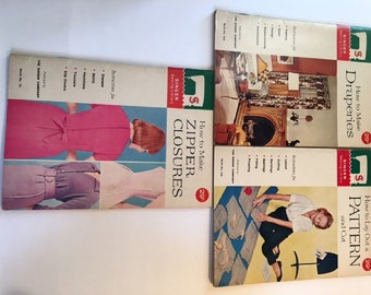 1960s Singer Sewing Library Booklets, Set of 3, 102 Draperies, 105 Patterns, 111 Zipper Closures, Sewing Instruction Booklets