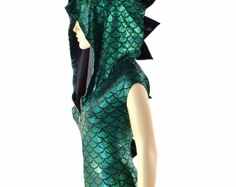 Green Dragon Scale Holographic ZIpper Front Cap Sleeve Hoodie Romper with Black Mystique Spikes & Hood Lining  -152368