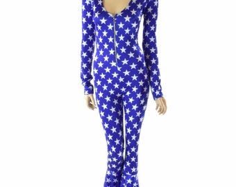 Blue & White Star Catsuit with Long Sleeves,  Bell Bottom Flares and Front Zipper (No Hood) Rave Festival Jumpsuit Burning Man 152295