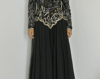 Lillie Rubin Deco Dress 1980s 90s Black Sequined Chiffon Formal Party Gown Size 6