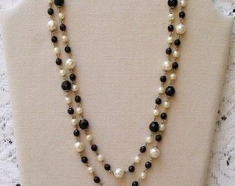 Vintage Black and White Faceted Bead Long Necklace - 58 inches