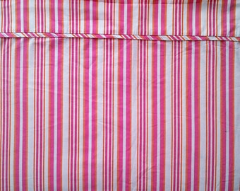 Fuchsia Pink Orange and White Stripe Two Piece Twin Single Size Bed Sheet Set - Flat & Fitted