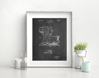 Kitchen Mixer Patent Poster, Kitchen Mixer Patent, Kitchen Decor, Vintage Kitchen,  PP0197