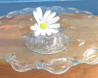 "13""  Vintage Cake Stand/Antique Wedding Cake Stand/ Ruffled Clear Glass Cake Plate/Birthday Cake Stand/Baby Shower Cake Stand/Cupcake"