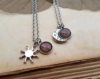 2 Sun and Moon Necklaces, best friends gift idea, best friends jewelry, best friend necklaces, sun necklace, moon necklace, Mars Necklace
