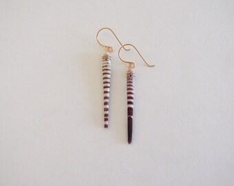 SALE -- Striped Sea Urchin Spine Earrings, Gold Filled