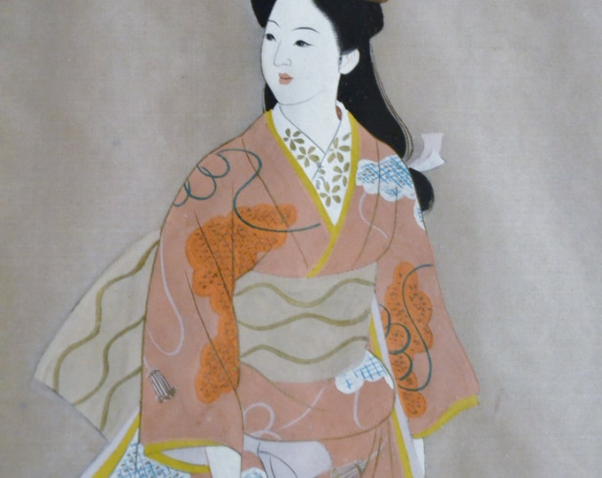 Vintage Japanese Geisha Painting on Silk Framed Asian Art Signed Panchosporch