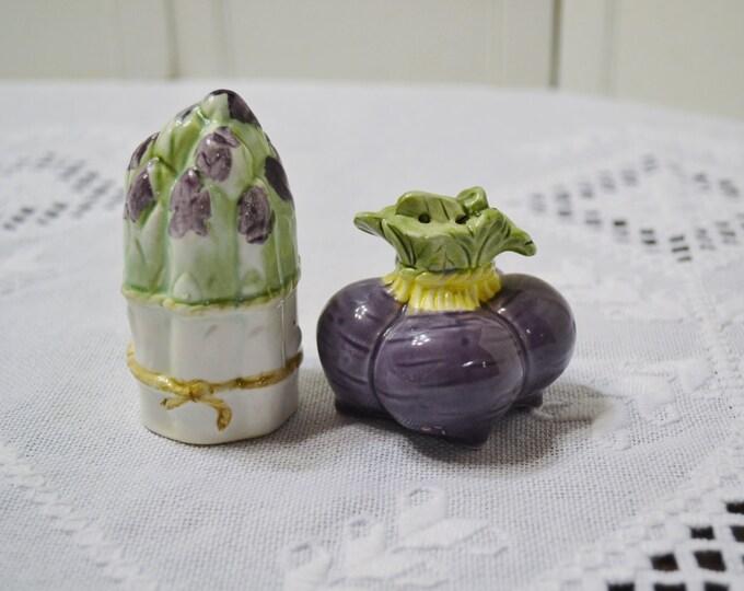 Vintage Salt and Pepper Shaker Set Asparagus Beets Vegetable Purple Green Summer Spring Panchosporch
