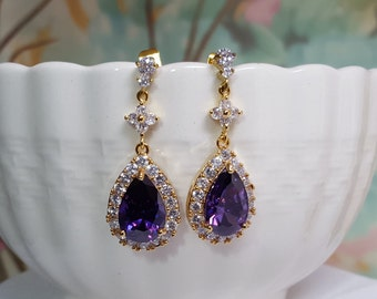 Amethyst Crystal Earrings, Purple Bridal Jewelry, Violet Wedding, Gold CZ Earrings, Lavender Bridesmaid, February Birthstone, Wife, E2462