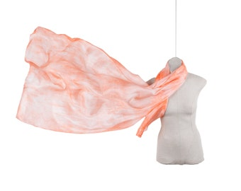 Light peach silk scarf /magnificent light orange pareo/ salmon sarong/ Shibori silk scarf
