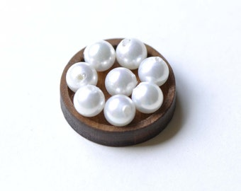 Half Drilled White Mother of Pearl Beads Round Loose Beads  Set of 10