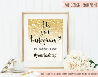 Gold Wedding Sign Hashtag sign printable gold bokeh hashtag sign Wedding Reception Decoration champagne gold glitter bookeh Digital jpg#14