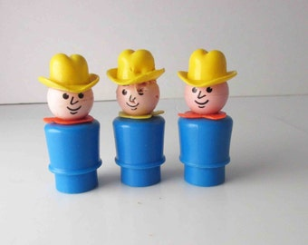Fisher Price Little People Farmer Cowboy Lot of 3 Plastic