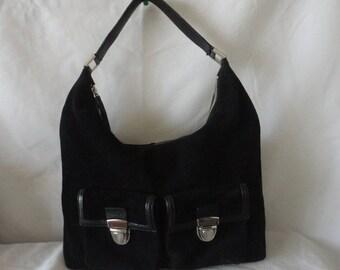 Pre-Owned Black Suede Leather Handbag*******.