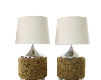 Mid Century Cork and Chrome Lamps, Pair