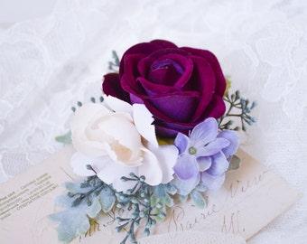 Wedding hair clip, Purple flower clip, Bridal headpiece, Purple wedding hair accessories, Floral hair clip, Rose hair clip - MONIQUE