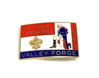1964 Boy Scouts National Jamboree Enamel and Brass Belt Buckle w Raised Fleur De Lis