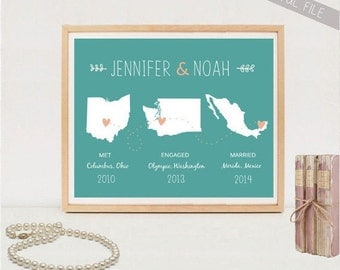 Personalized wedding gift map - Custom met engaged married Map anniversary gift - DIGITAL FILE!