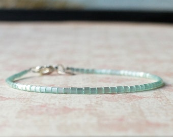 Mint Green Seed Bead Bracelet, Stacking Bracelet, Minimalist Bracelet, Dainty Bracelet, Simple Bracelet, Beaded Bracelet, Delicate Bracelet