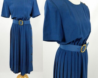 1980s Vintage Leslie Fay Blue Pleated Smart Dress Size UK 10