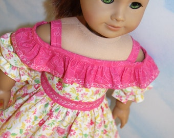 18 Inch Doll (like American Girl) Pink and Yellow Floral Ruffled Sundress with Embroidery