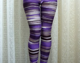 Womens Yoga Leggings, Purple Leggings, Striped Leggings, Printed Leggings, Stripes Patterned Leggings, Workout Pants, Active Wear Tights