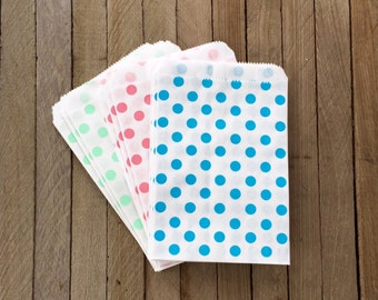 48 Mint, Pink and Blue--Favor Bag--Polka Dot Favor Sacks--Candy Favor Bag--Dot Goodie Bag--Stripe Party Sack--Birthday Treat Sacks