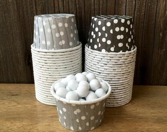 Black and Silver Paper Snack Cups - Set of 48 - Polka Dot Candy Cup - Birthday Party - Ice Cream Cup - Paper Nut Cup - Same Day Shipping
