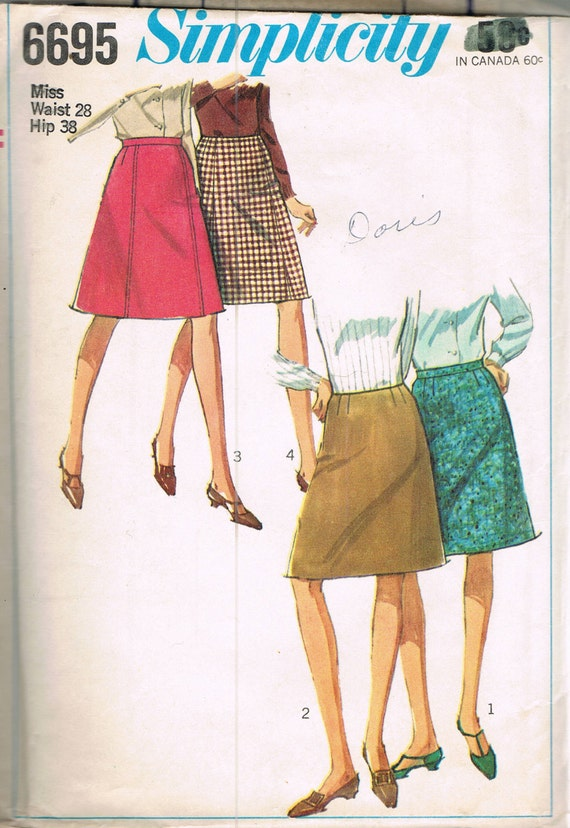 size 14 misses knee length a line skirt vintage sewing