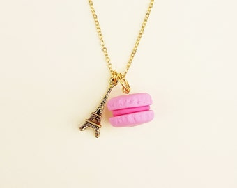 Macaroon & Eiffel tower charm necklace