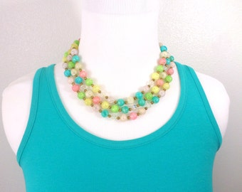 Pastel Bead Necklace Multi Triple Strand Blue Pink White Yellow Green 1920's Beaded Necklace Vintage Jewelry
