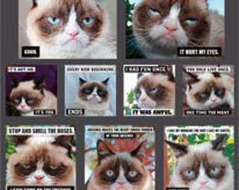 4 Sheets Grumpy Cat Stickers Party Favors Envelope Seals