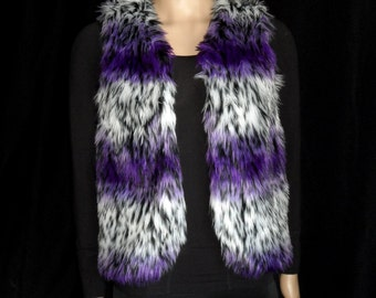 Faux fur vest, fully lined, Women size Medium, Men size Small, bright purple/white/black fur, soft crepe satin lining