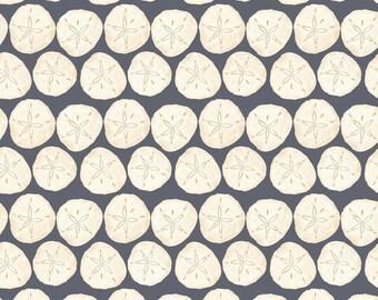 Beach Fabric - Barnacle Bay Sand Dollar Fabric - 3204 99 Cream & Gray - Priced by the Half yard