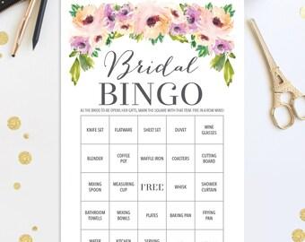 76 Bridal Shower Bingo Games - Wedding Shower Game - Shower Bingo - Popular Shower Games - Wild Flower Bridal Bingo - Instant Download