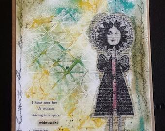A woman staring, dreaming art card