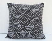 "Aztec pattern pillow cover, charcoal colour, embroidery, geometrical, cotton pillow cover,16""X16"""