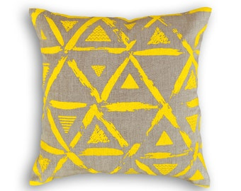 "SALE, 50% discount, Yellow pillow cover, linen pillow cover, geometrical print, triangle print, standard size 16""X 16"", sizes available."