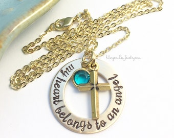 My heart belongs to an angel ~ Custom Birthstone ~ Loss ~ Remembrance ~ Memorial ~ Miscarriage Necklace ~ Cross Jewelry ~ Gold tone ~ Washer