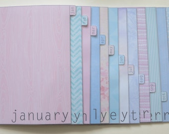 A5 size Pastel monthly dividers Jan-Dec