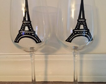 Hand Painted Eiffel Tower Wine Glasses - set of 2