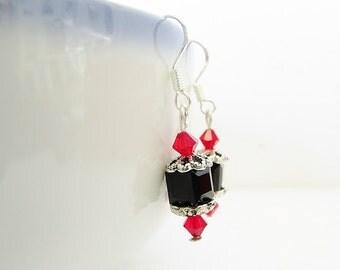 Swarovski Crystal Earrings - Red & Black Cube Earrings - Sterling Silver Beaded Dangle Earrings - Handmade Jewelry Christmas Gifts for Her