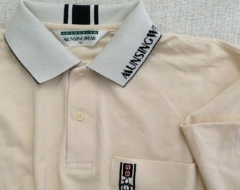 Munsingwear Grandslam Japan vintage 80s Cream polo pocket sporty golf shirt