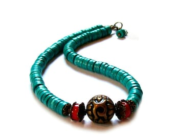 Turquoise boho necklace, beaded, boho necklace, beaded southwest navajo necklace for a perfect wife gift